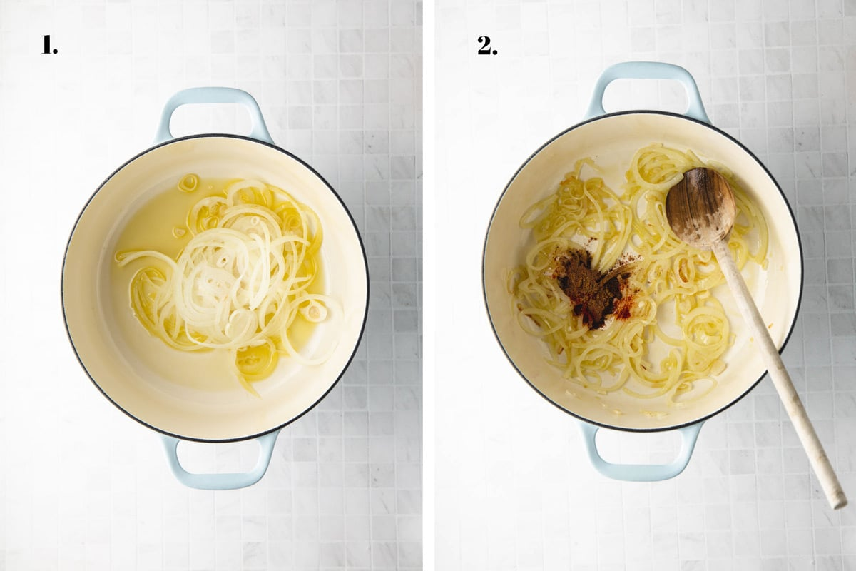 Two food images with onions and spices cooking in a pot.