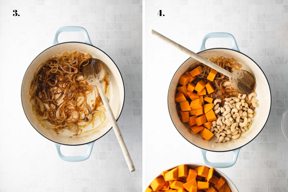 Two food images with pumpkin and cashews in a pot.