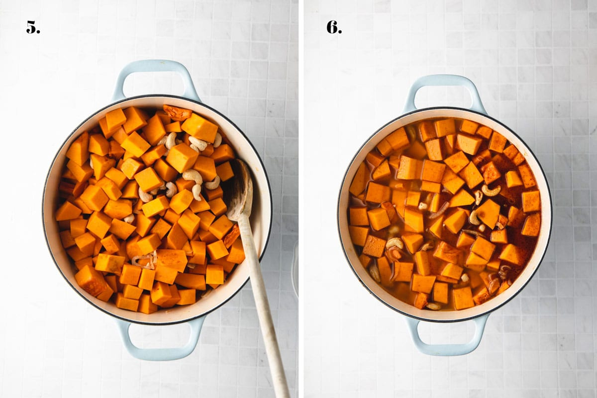 Two food images with pumpkin soup cooking in a pot.