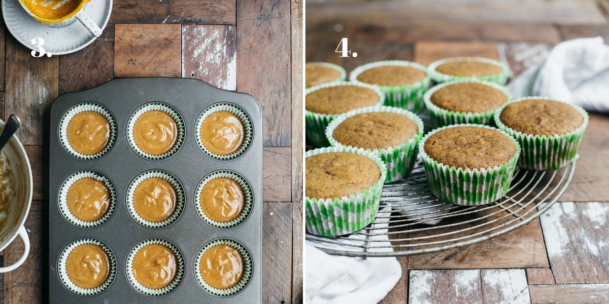 Two food images with cupcakes batter in a baking mould.