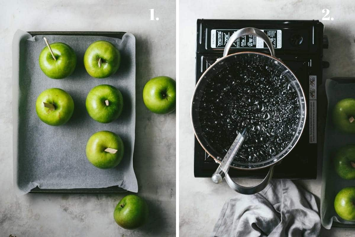 Two food images showing apples prepared for candy apples.